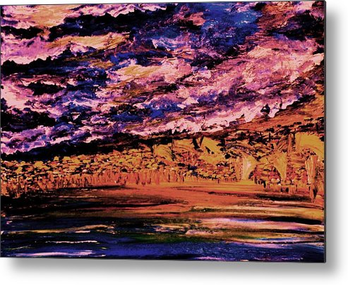 Clouds Metal Print featuring the painting Cloudy In The Evening by Evelina Popilian