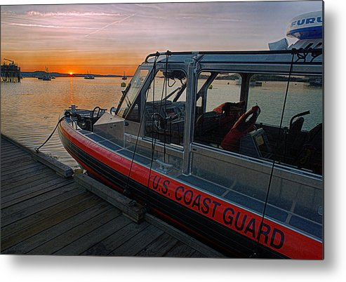 Coast Guard Metal Print featuring the photograph Coast Guard Response Boat At Sunset by Marty Saccone