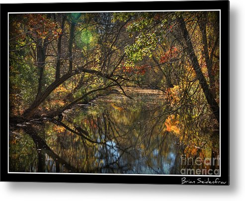 Nature Pretty Trees Canal Water Reflection Metal Print featuring the photograph Colorful Canal by Brian Seidenfrau