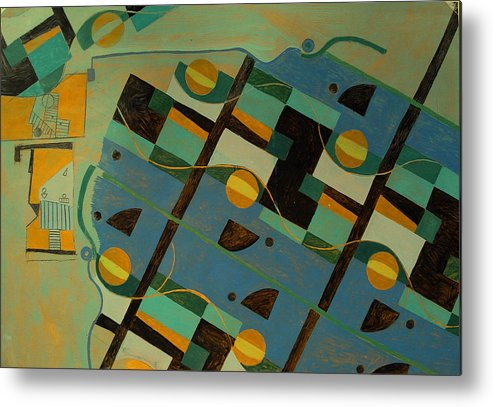 Abstract Art Metal Print featuring the painting Composition Xxi 07 by Maria Parmo