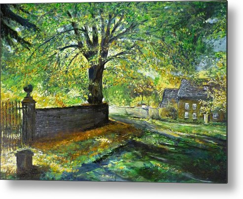 Landscape Metal Print featuring the painting Cotswold Lane by Lizzy Forrester