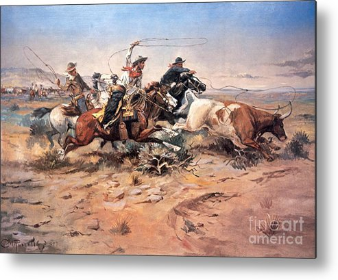 Cowboys Metal Print featuring the painting Cowboys Roping A Steer by Charles Marion Russell