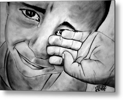 Metal Print featuring the drawing Cry Of The Oppressed by Najib ER-RAS