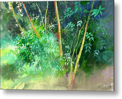 Water Color Metal Print featuring the painting Deep by Anil Nene