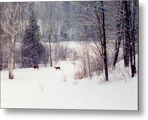 Snow Metal Print featuring the digital art Deer By The Forest Db by Lyle Crump