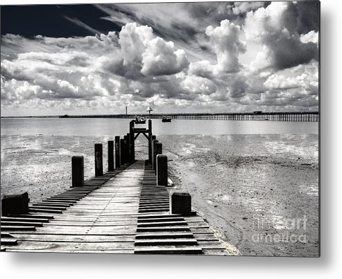 Wharf Southend Essex England Beach Sky Metal Print featuring the photograph Derelict Wharf by Sheila Smart Fine Art Photography
