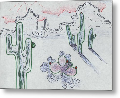 Arizona Metal Print featuring the painting Desert Cactus by Suzanne Marie Leclair