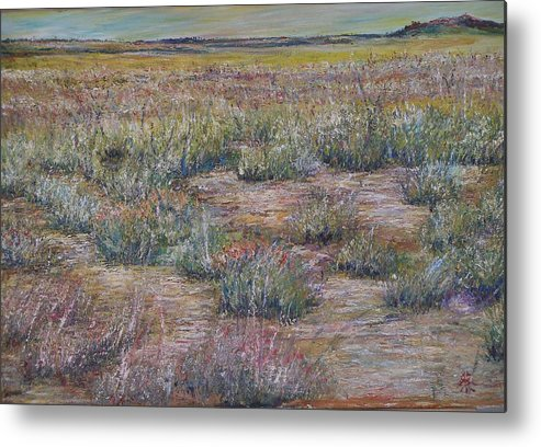 Landscape Metal Print featuring the painting Desert Symphony by Wendy Chua