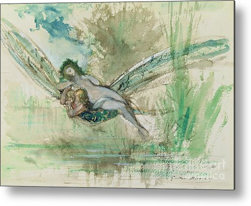 Dragonfly Metal Print featuring the painting Dragonfly by Gustave Moreau