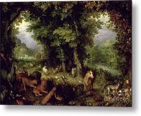 Animal; Animals Metal Print featuring the painting Earth Or The Earthly Paradise by Jan the Elder Brueghel