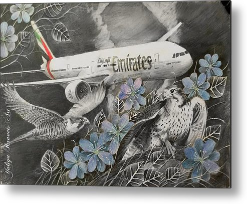 Airplanes Metal Print featuring the drawing Emirates by Julia Kravets