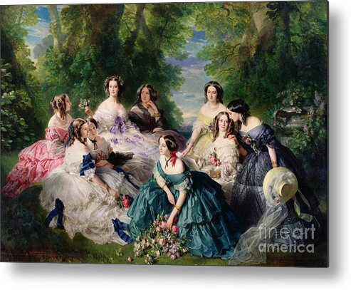 Empress Metal Print featuring the painting Empress Eugenie Surrounded By Her Ladies In Waiting by Franz Xaver Winterhalter