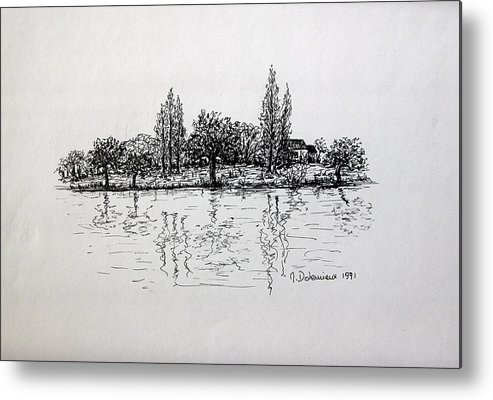 Landscape Metal Print featuring the drawing Etang by Muriel Dolemieux