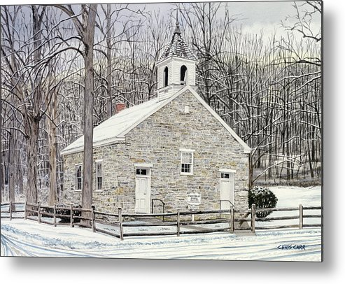 Eyler's Valley Chapel - Winter Church Landscape Metal Print featuring the painting Eyler's Valley Chapel by Chris Carr