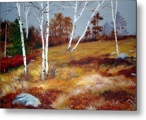 Maine Metal Print featuring the painting Fall Birch Trees And Blueberries by Laura Tasheiko