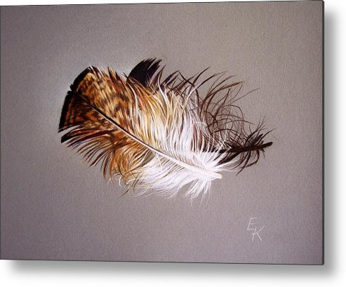 Still Life Metal Print featuring the drawing Feather And Shadow 2 by Elena Kolotusha