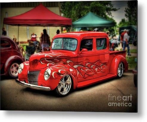 Hot Rod Metal Print featuring the photograph Flame Hot Truck by Perry Webster