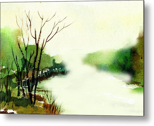 Water Color Metal Print featuring the painting Fog1 by Anil Nene