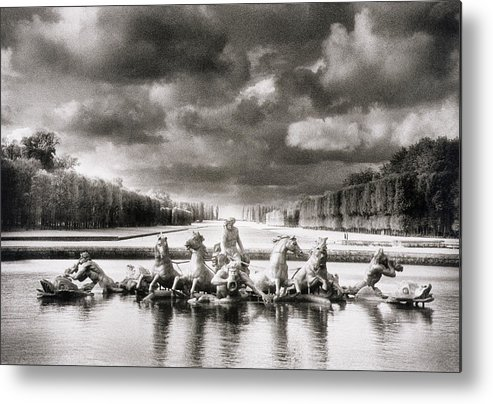 Fountain With Sea Gods Metal Print featuring the photograph Fountain With Sea Gods At The Palace Of Versailles In Paris by Simon Marsden