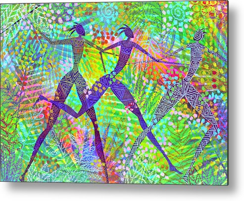 Jungle Tropical Rain Forest Figures Colourful Magical Metal Print featuring the painting Freedom In The Rain Forest by Jennifer Baird