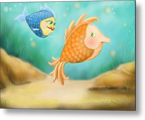 Blue Fish And Orange Fish Metal Print featuring the digital art Friendship Fish by Hank Nunes