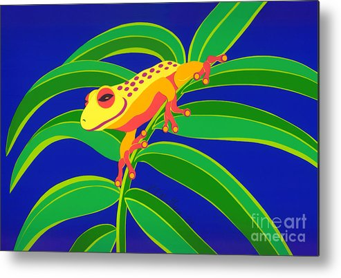 Nature Metal Print featuring the drawing Frog On Branch by Lucyna A M Green