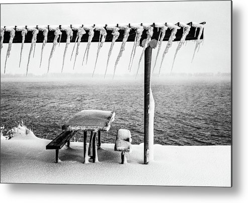 Black And White Metal Print featuring the photograph Frozen Picinic by Chris Augliera