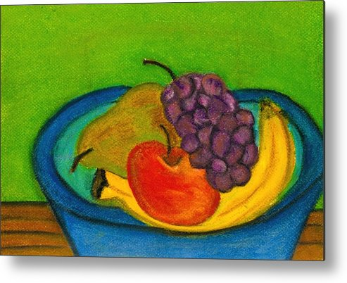 Still Life Metal Print featuring the drawing Fruit In Bowl by Katina Cote