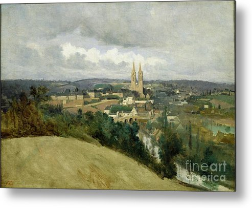 General Metal Print featuring the painting General View Of The Town Of Saint Lo by Jean Corot