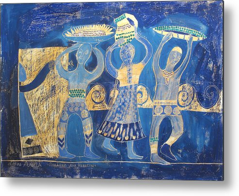 People Metal Print featuring the painting Gifts For The Bride 1 by Aliza Souleyeva-Alexander