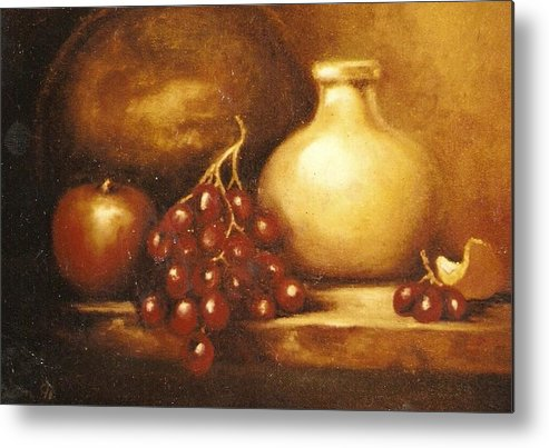 Still Life Metal Print featuring the painting Golden Carafe by Jordana Sands