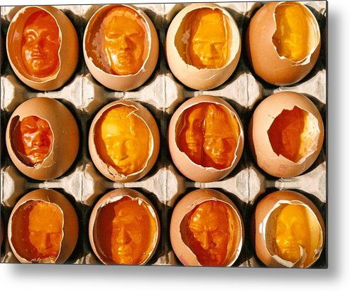 Eggs Metal Print featuring the sculpture Golden Eggs by Mark Cawood