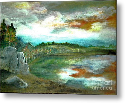 Landscape Metal Print featuring the painting Gravel Pit Overgrown by Vi Mosley