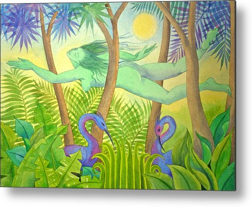 Jungle Flying Dream Exotic Birds Tropical Forest Sensuous Metal Print featuring the painting Green Lady Flying by Jennifer Baird