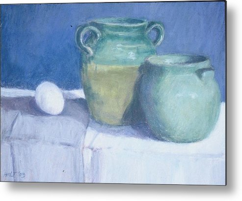 Pastel Still Life Metal Print featuring the painting Green Pots by Dolores Holt