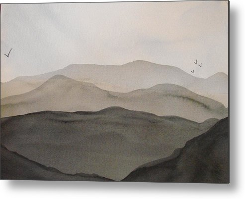 Landscape Metal Print featuring the painting Grey Mountains by Liz Vernand