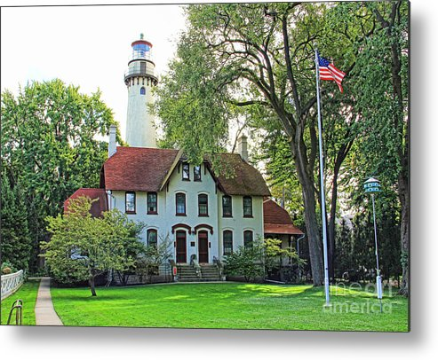 Lighthouse Metal Print featuring the photograph Grosse Point Light Station by Jack Schultz