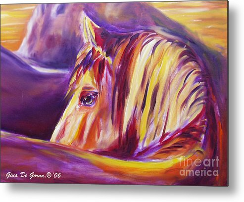Horses Metal Print featuring the painting Horse World Detail by Gina De Gorna