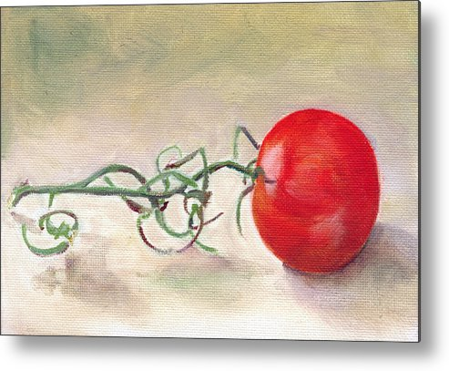Food Metal Print featuring the painting Hot-house Tomato by Sarah Lynch