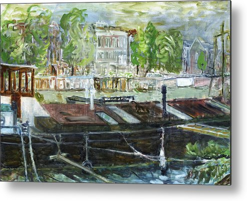 Amsterdam House Boat Canal Trees Houses Sky Water Thunderstorm Metal Print featuring the painting House Boat In Amsterdam by Joan De Bot