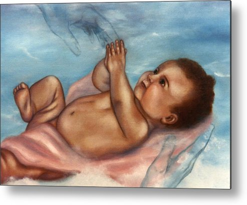Portrait Metal Print featuring the painting In Gods Hands by Joni McPherson
