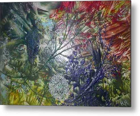 Abstract Metal Print featuring the painting In The Forest by Heather Hennick