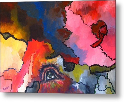 Original Metal Print featuring the painting Indian Eye by Laura Tveras