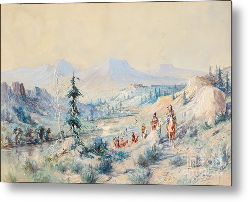 Community Metal Print featuring the painting Indians On A Trail by Celestial Images