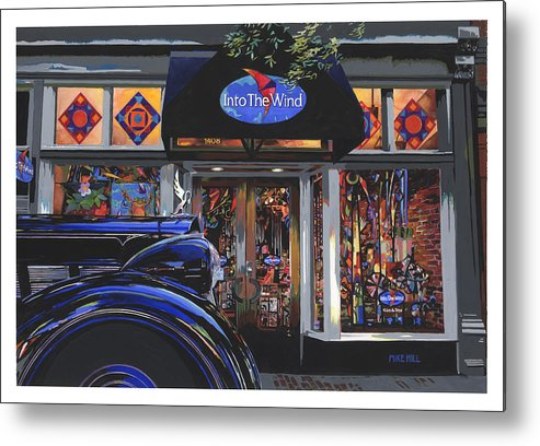 1937 Packard Car Automobile Black Kite Kites Wind Chime Store Front Gouache Boulder Colorado Metal Print featuring the painting Into The Wind ... Packard by Mike Hill