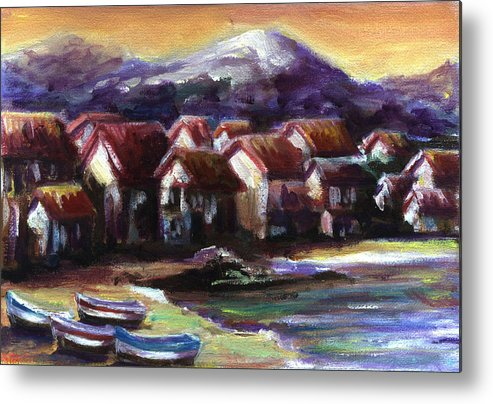 Oil Metal Print featuring the painting Italian Coast by Patricia Halstead
