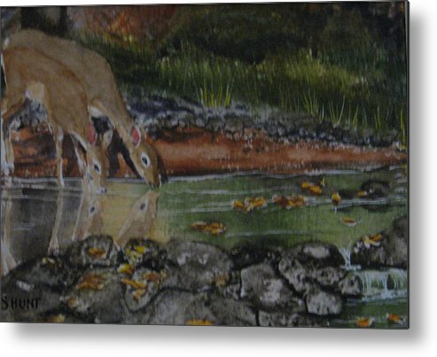 Landscape Metal Print featuring the painting Just A Sip by Shirley Braithwaite Hunt