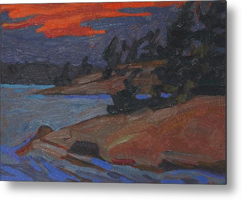 2002 Metal Print featuring the painting Killbear Flagged Pines At Sunset by Phil Chadwick