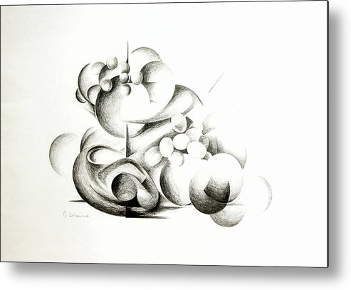 Abstract Metal Print featuring the drawing La Guerre Des Bulles by Muriel Dolemieux