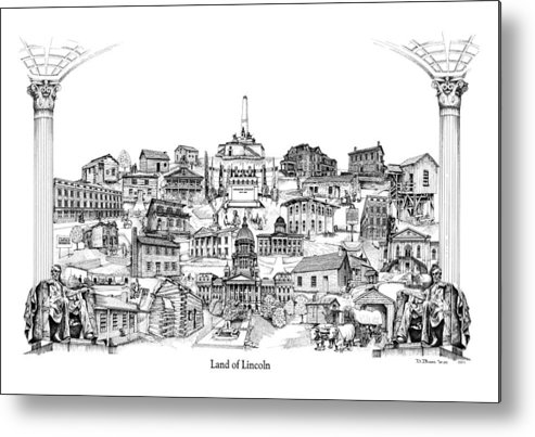 City Drawing Metal Print featuring the drawing Land Of Lincoln by Dennis Bivens